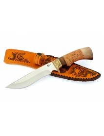 "Нож туристический ""Галеон"", сталь 65х13, береста, орех"