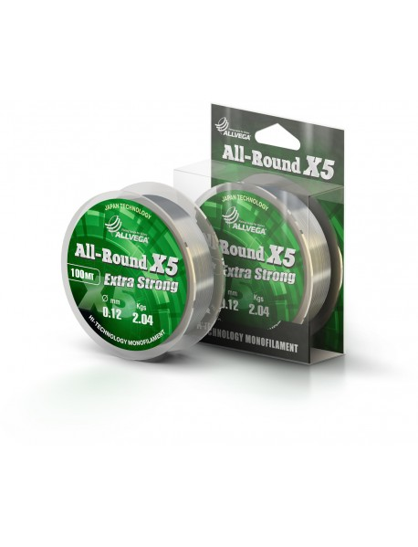 "Леска ALLVEGA ""ALL-ROUND X5"" 0.12мм (100м) (2,04кг) (прозрачная)"
