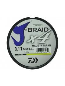 """Леска плетеная DAIWA """"J-Braid X4"""" 0,17мм 135 (желтая)"""