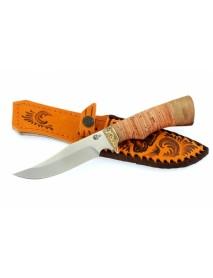 "Нож туристический ""Юнкер"", сталь 65х13, береста, орех"