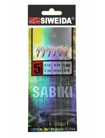 Сабики SWD №2 (Koajimarujiku №5RED- 6шт; леска 0,14;поводки 0,12 -2см /20 см) 140см
